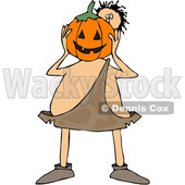 Clipart of a Cartoon Caveman Holding a Halloween Jackolantern Pumpkin in Front of His Face - Royalty Free Vector Illustration © djart #1356757