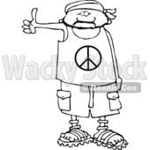 Clipart of a Cartoon Black and White Male Hitchhiker Wearing a Bandana, Peace Shirt, Shorts and Sandals - Royalty Free Lineart Vector Illustration © djart #1357308