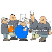 Clipart of a Cartoon Group of Caucasian Male Construction Workers with a Cooler, Donuts, Document and Bag - Royalty Free Illustration © Dennis Cox #1357309