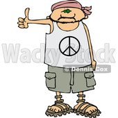 Clipart of a Cartoon Caucasian Male Hitchhiker Wearing a Bandana, Peace Shirt, Shorts and Sandals - Royalty Free Vector Illustration © djart #1357311