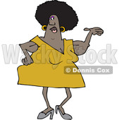 Clipart of a Cartoon Chubby Black Woman Presenting, with Her Arms Sagging - Royalty Free Vector Illustration © djart #1358350