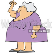 Clipart of a Cartoon Chubby Senior White Woman Holding up a Fist, with Her Arms Sagging - Royalty Free Vector Illustration © Dennis Cox #1358351