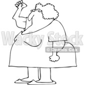 Clipart of a Cartoon Black and White Chubby Senior Woman Holding up a Fist, with Her Arms Sagging - Royalty Free Vector Illustration © djart #1358355