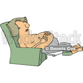 Clipart of a Cartoon Shirtless Chubby White Man Sleeping in a Recliner Chair, Resting His Hands on His Belly - Royalty Free Vector Illustration © djart #1358361