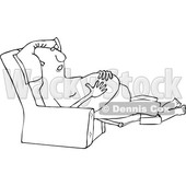 Clipart of a Cartoon Black and White Shirtless Chubby Man Sleeping in a Recliner Chair, Resting His Hands on His Belly - Royalty Free Vector Illustration © Dennis Cox #1358362