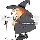 Clipart of a Cartoon Red Haired Chubby Witch Reading a Long List - Royalty Free Vector Illustration © djart #1359747
