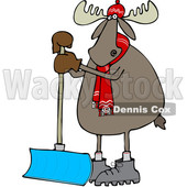 Clipart of a Cartoon Moose Wearing a Hat and Scarf and Standing with a Snow Shovel - Royalty Free Vector Illustration © djart #1360934