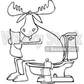 Clipart of a Cartoon Black and White Moose Reading a Newspaper on a Toilet - Royalty Free Vector Illustration © djart #1360935