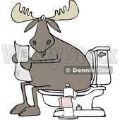Clipart of a Cartoon Moose Reading a Newspaper on a Toilet - Royalty Free Vector Illustration © djart #1360936