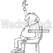 Clipart of a Cartoon Black and White Nearly Bald Man Sitting in a Chair and Raising His Hand to Ask a Question - Royalty Free Vector Illustration © djart #1360937