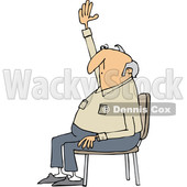 Clipart of a Cartoon Nearly Bald White Man Sitting in a Chair and Raising His Hand to Ask a Question - Royalty Free Vector Illustration © djart #1360938