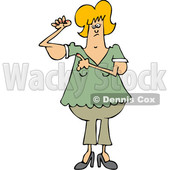 Clipart of a Cartoon Chubby Blond White Woman with Flabby Arms, Pointing to the Problem - Royalty Free Vector Illustration © djart #1361173