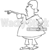 Clipart of a Cartoon Black and White Chubby Woman with Flabby Arms, Pointing - Royalty Free Vector Illustration © djart #1361174