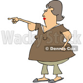 Clipart of a Cartoon Chubby Brunette White Woman with Flabby Arms, Pointing - Royalty Free Vector Illustration © djart #1361175