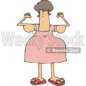 Clipart of a Cartoon Chubby Brunette White Woman with Flabby Arms, Flexing - Royalty Free Vector Illustration © djart #1361177
