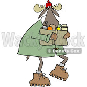 Clipart of a Cartoon Winter Moose Carrying Groceries - Royalty Free Vector Illustration © djart #1361439