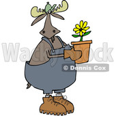 Clipart of a Cartoon Moose Gardener Holding a Potted Flower - Royalty Free Vector Illustration © djart #1361440