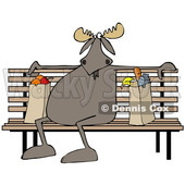 Clipart of a Cartoon Moose Sitting on a Park Bench with Grocery Bags - Royalty Free Illustration © djart #1361442