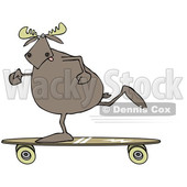 Clipart of a Cartoon Moose Skateboarding - Royalty Free Illustration © djart #1361443