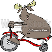 Clipart of a Cartoon Moose Riding a Tricycle - Royalty Free Vector Illustration © djart #1361444