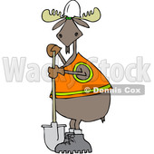 Clipart of a Cartoon Moose Contractor Holding a Shovel and Wearing a Safety Vest - Royalty Free Vector Illustration © djart #1361445