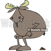 Clipart of a Cartoon Moose Squatting and Pooping - Royalty Free Vector Illustration © djart #1361446