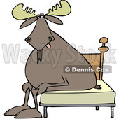 Clipart of a Cartoon Tired Moose Sitting on a Bed - Royalty Free Vector Illustration © djart #1361447