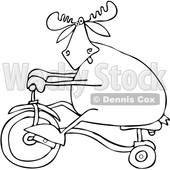Clipart of a Cartoon Black and White Lineart Moose Riding a Tricycle - Royalty Free Vector Illustration © djart #1361450