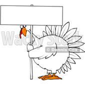 Clipart of a Cartoon Chubby White Thanksgiving Turkey Bird Holding a Blank Sign - Royalty Free Vector Illustration © djart #1361478