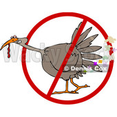 Clipart of a Cartoon Brown Thanksgiving Turkey Bird Farting in a Restricted Symbol - Royalty Free Vector Illustration © djart #1361507