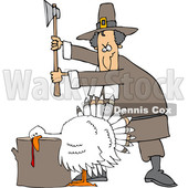 Clipart of a Cartoon Pilgrim Ready to Chop the Head off of a White Thanksgiving Turkey Bird Laying His Head on a Chopping Block - Royalty Free Vector Illustration © djart #1361509