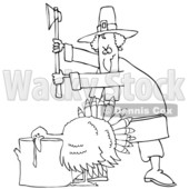 Clipart of a Cartoon Black and White Pilgrim Ready to Chop the Head off of a Thanksgiving Turkey Bird Laying His Head on a Chopping Block - Royalty Free Vector Illustration © djart #1361510
