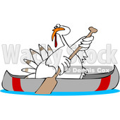 Clipart of a Cartoon White Thanksgiving Turkey Bird Canoeing - Royalty Free Vector Illustration © djart #1361511