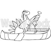 Clipart of a Cartoon Black and White Thanksgiving Turkey Bird Canoeing - Royalty Free Vector Illustration © djart #1361512