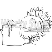 Clipart of a Cartoon Black and White Thanksgiving Turkey Bird Laying His Head on a Chopping Block - Royalty Free Vector Illustration © djart #1361514