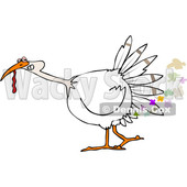 Clipart of a Cartoon White Thanksgiving Turkey Bird Farting - Royalty Free Vector Illustration © djart #1361515