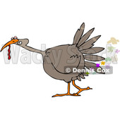 Clipart of a Cartoon Brown Thanksgiving Turkey Bird Farting - Royalty Free Vector Illustration © djart #1361516