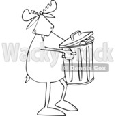 Clipart of a Cartoon Black and White Moose Taking out the Garbage - Royalty Free Vector Illustration © djart #1361604