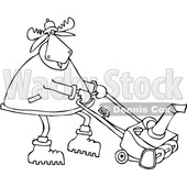 Clipart of a Cartoon Black and White Moose Using a Snow Blower - Royalty Free Vector Illustration © djart #1361605