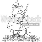 Clipart of a Cartoon Black and White Moose Raking Autumn Leaves - Royalty Free Vector Illustration © djart #1361606