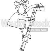 Clipart of a Cartoon Black and White Moose Standing on a Ladder and Cleaning Gutters - Royalty Free Vector Illustration © djart #1361607