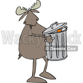Clipart of a Cartoon Moose Taking out the Garbage - Royalty Free Vector Illustration © djart #1361609