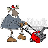Clipart of a Cartoon Moose Using a Snow Blower - Royalty Free Vector Illustration © djart #1361610
