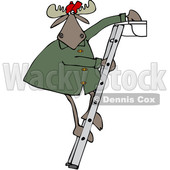 Clipart of a Cartoon Moose Standing on a Ladder and Cleaning Gutters - Royalty Free Vector Illustration © djart #1361612