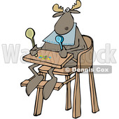 Clipart of a Cartoon Baby Moose Sitting in a High Chair - Royalty Free Vector Illustration © djart #1361613