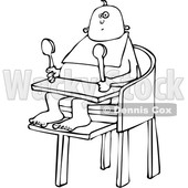 Clipart of a Cartoon Black and White Baby Sitting in a High Chair and Holding Spoons - Royalty Free Vector Illustration © Dennis Cox #1361685
