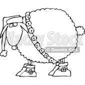 Clipart of a Cartoon Black and White Festive Christmas Sheep in Boots, Jingle Bells and a Santa Hat - Royalty Free Vector Illustration © Dennis Cox #1362419