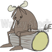 Clipart of a Cartoon Depressed Moose Sitting on a Log - Royalty Free Vector Illustration © djart #1362421