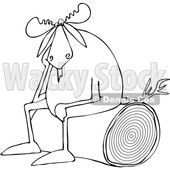 Clipart of a Cartoon Black and White Depressed Moose Sitting on a Log - Royalty Free Vector Illustration © djart #1362422