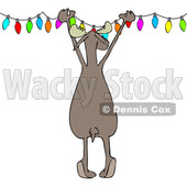 Clipart of a Cartoon Rear View of a Festive Moose Hanging Christmas Lights - Royalty Free Vector Illustration © djart #1362423